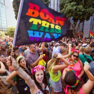 Gay Pride festival - Born this way rainbow flag