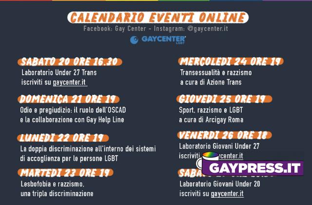 Su Gay Center e Gay Help Line con UNAR convegni contro omofobia e razzismo dal 22 al 27 marzo 2021